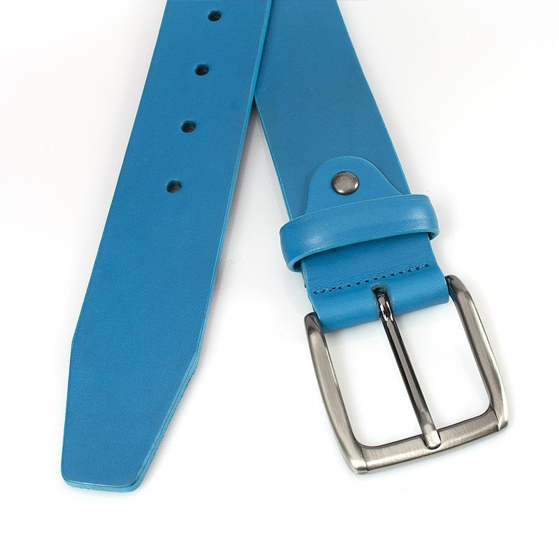JV Belts Leren jeans riem kobalt blauw