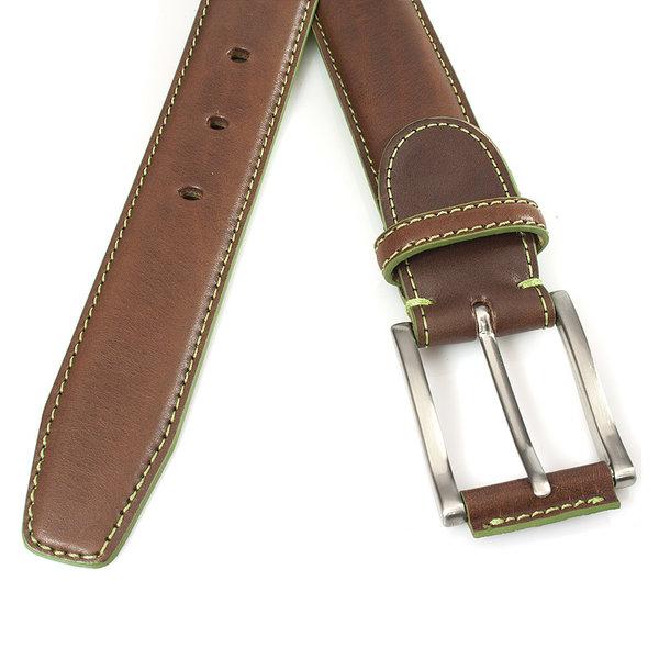 JV Belts Bruine herenriem met limegroen stiksel