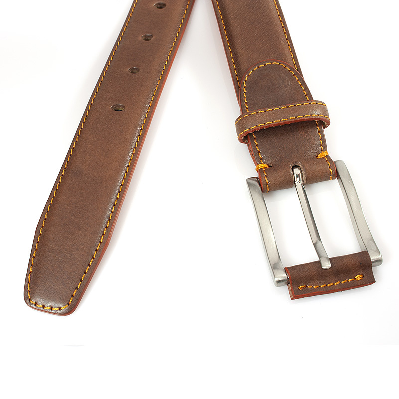 JV Belts Bruine heren riem met oranje stiksel