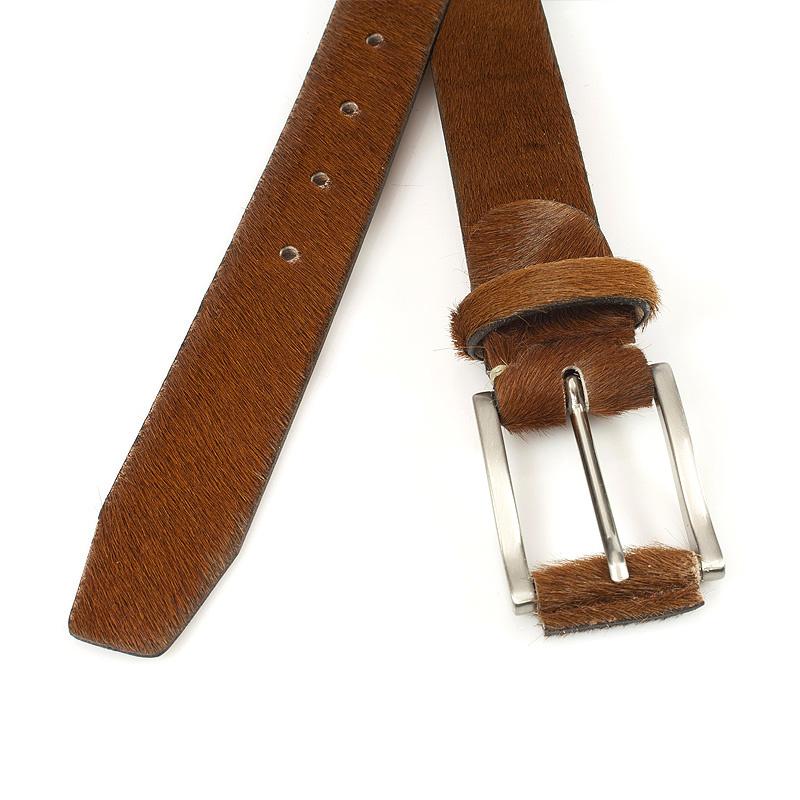 JV Belts Cognac kleurige hair-on riem unisex