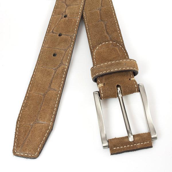 JV Belts Suède bruine herenriem croco