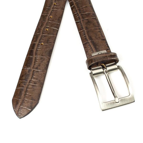 JV Belts Bruine kroko herenriem
