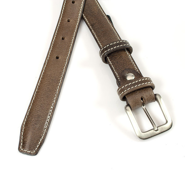 JV Belts Mooie klassieke donker taupe kleurige dames ceintuur doorgestikt