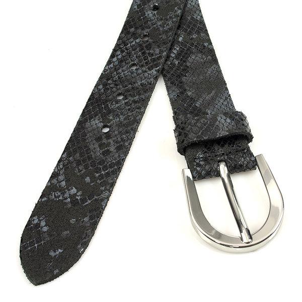 Thimbly Belts Damesceintuur kroko look zwart/grijs