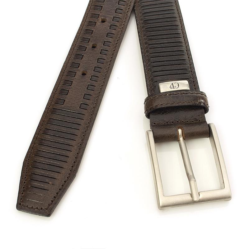 JV Belts Fraaie unisex riem bruin met streep patroon