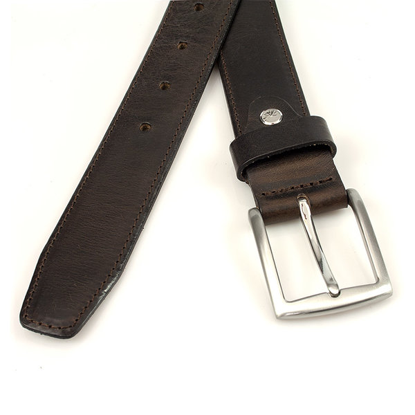 Thimbly Belts Mooie gebolleerde bruine pantalon riem