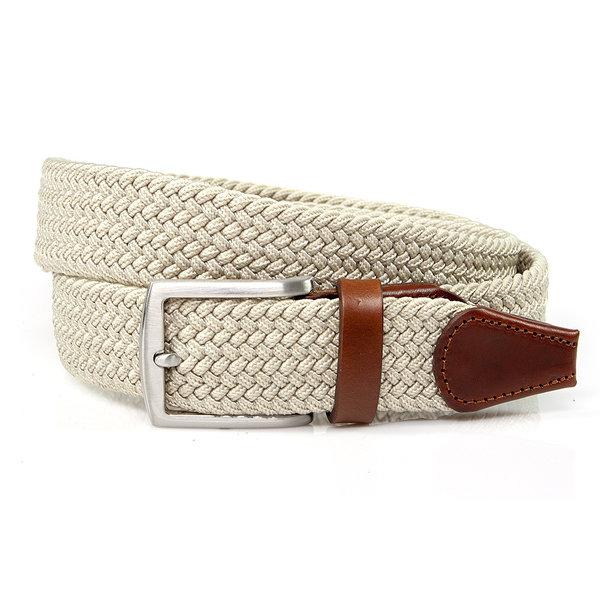 Thimbly Belts Nette elastische ecru kleurige riem afgewerkt met leer