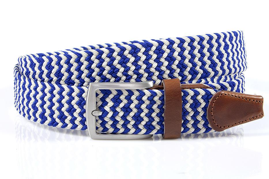 Thimbly Belts Nette blauw witte riem afgewerkt met leer