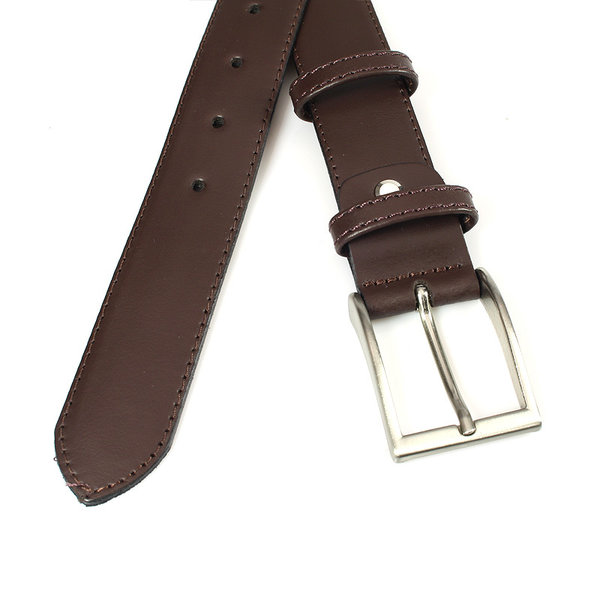 JV Belts Mooie bruine gebolleerde pantalonriem doorgestikt