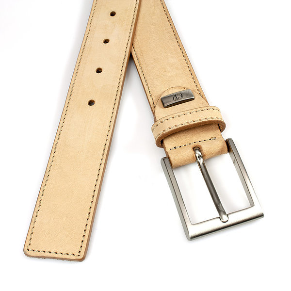 JV Belts Leuke nubuck riem naturel doorgestikt