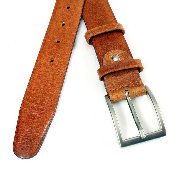 JV Belts Nette cognac kleurige pantalonriem gebolleerd ongestikt