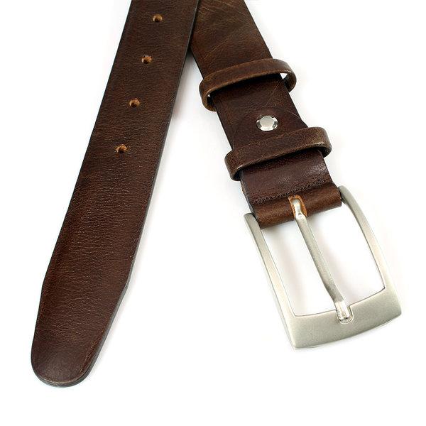JV Belts Nette bruine pantalonriem gebolleerd ongestikt