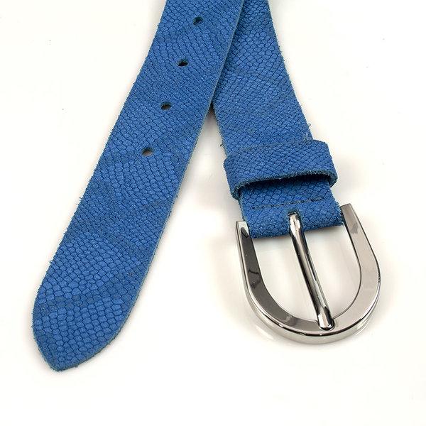 Thimbly Belts Damesceintuur kroko look jeans blauw