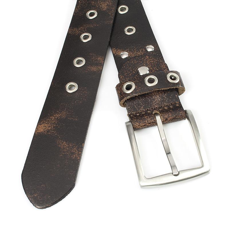 Thimbly Belts Bruine jeansriem met ringen