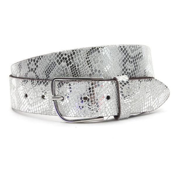 A-Zone Dames riem slangenprint wit met zilver