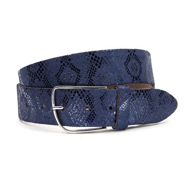 A-Zone Dames riem slangenprint blauw met zilver