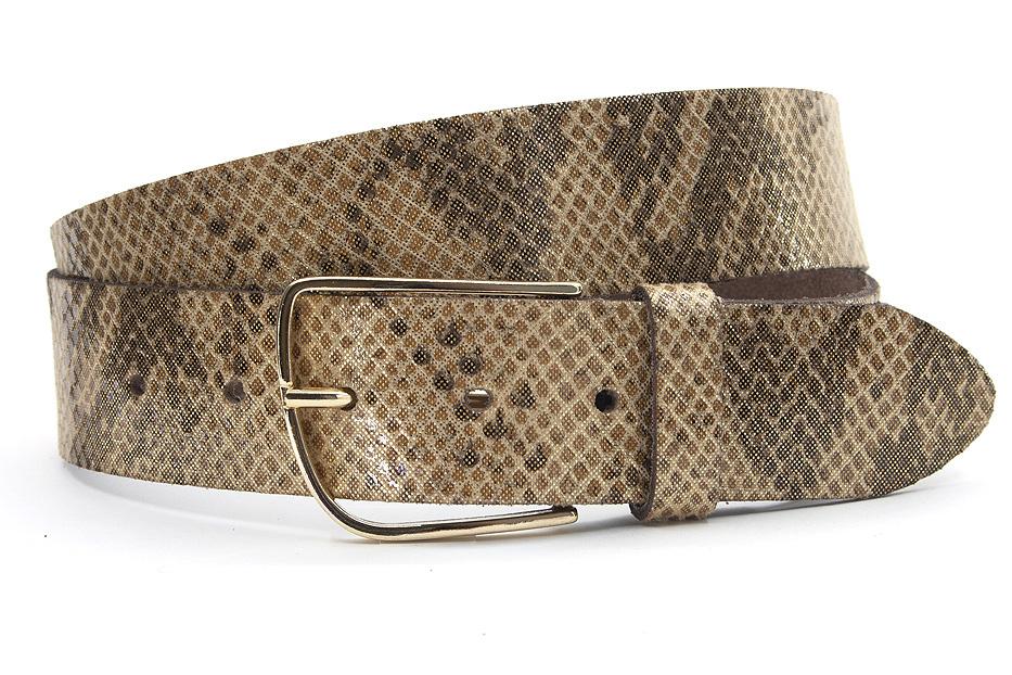 A-Zone Dames riem bruin/ brons met slangenprint