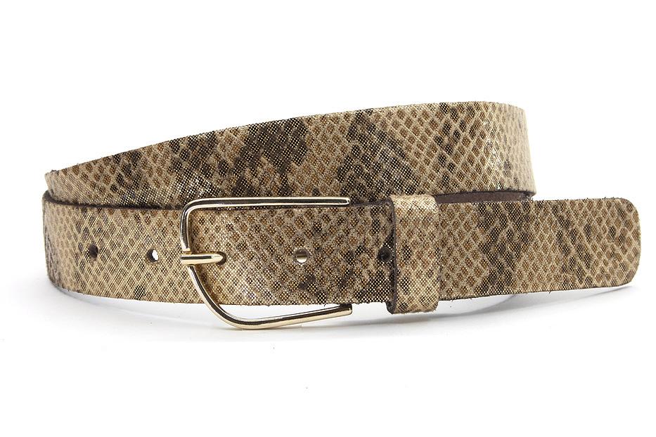 A-Zone  bruin/bronzen dames riem met slangenprint