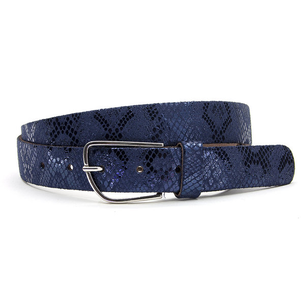 A-Zone Blauwe dames riem met slangenprint