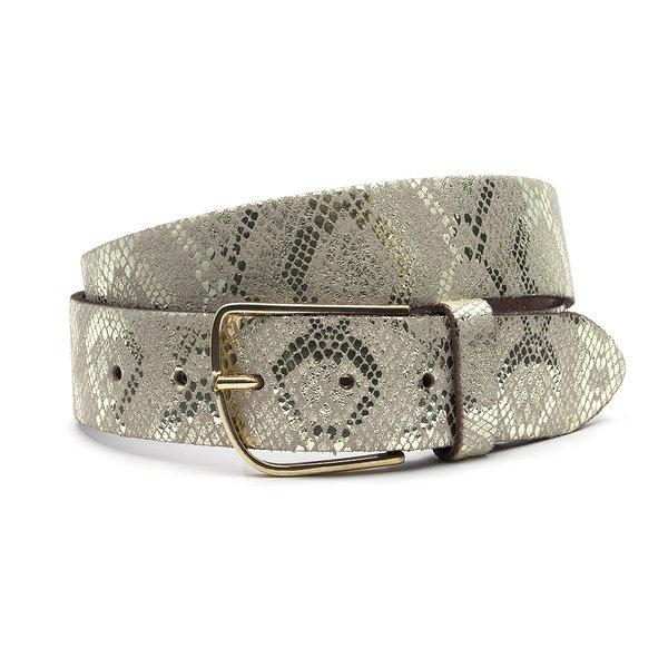 A-Zone Gouden dames riem met slangenprint