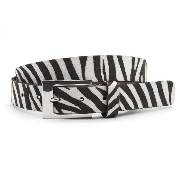 A-Zone Dames ceintuur zebra donker bruin wit