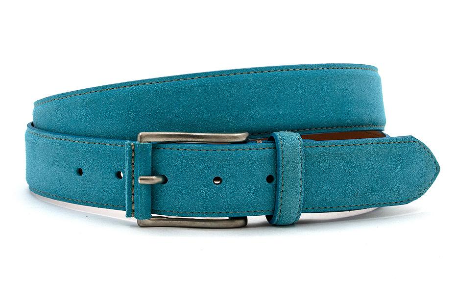JV Belts Turquoise suède riem unisex
