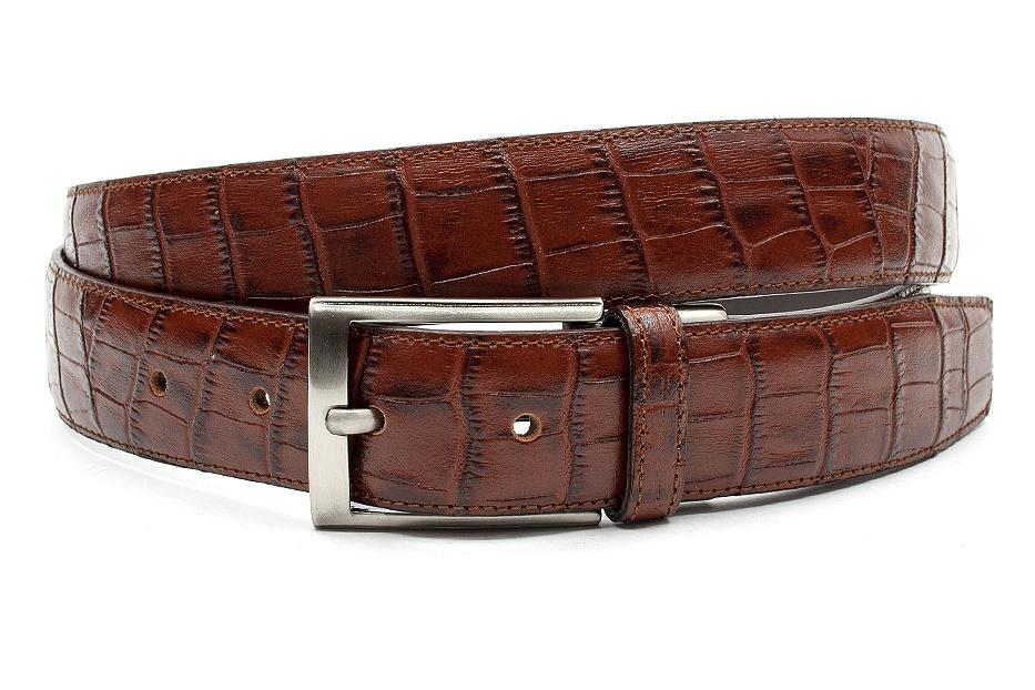 Gilmart Mooie rood bruine kroko riem