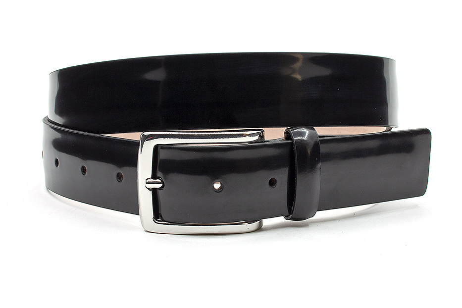 JV Belts Zwarte mat glanzende heren riem