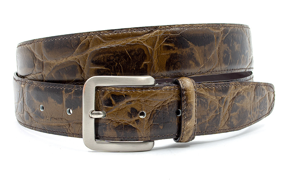JV Belts Mooie groen bruine kroko riem