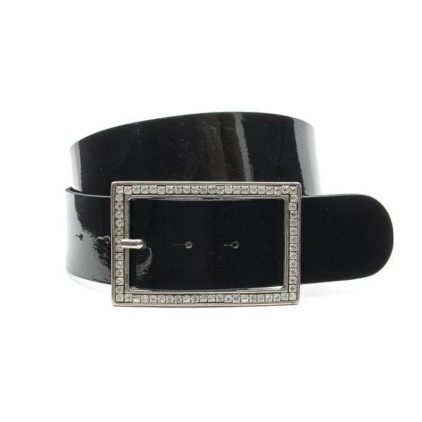 Thimbly Belts Brede heupriem zwart lak met strass gesp