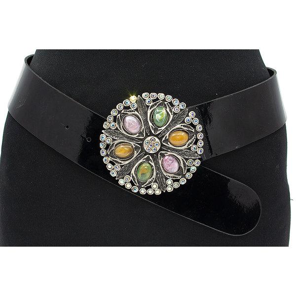 Thimbly Belts Zwarte dames lak ceintuur