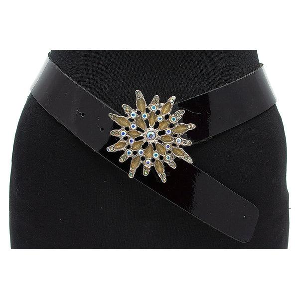 Thimbly Belts Zwarte lak dames riem