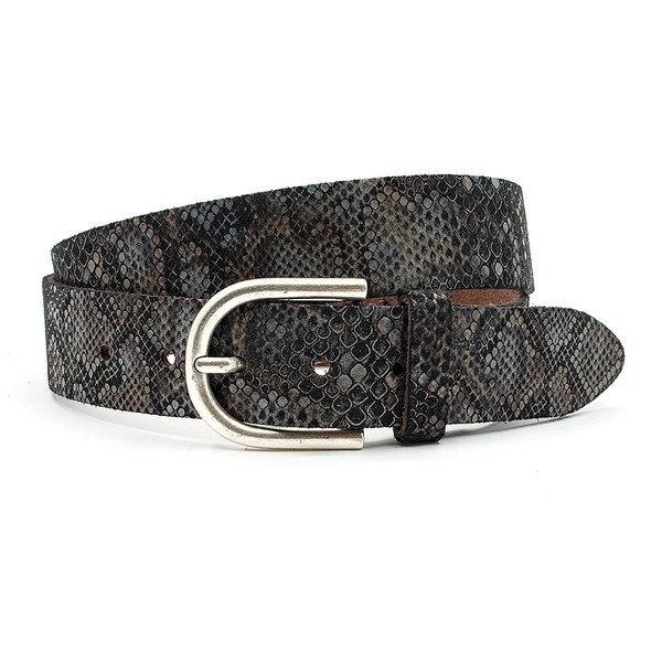 A-Zone Dames riem  zwart/grijs met kroko print
