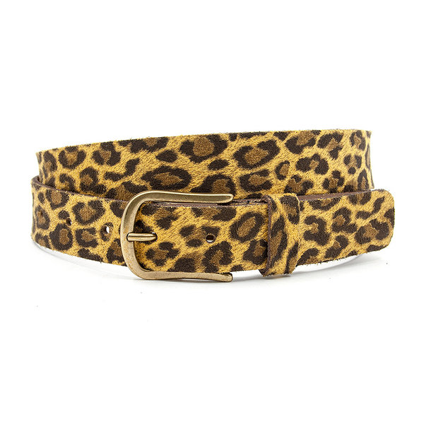 A-Zone Dames ceintuur met goud gele leopard print