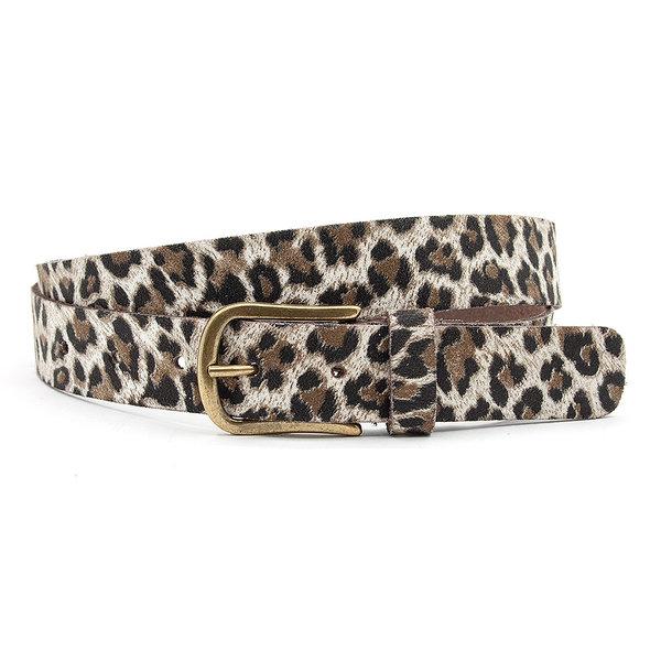 A-Zone Dames ceintuur zwart/beige leopard print