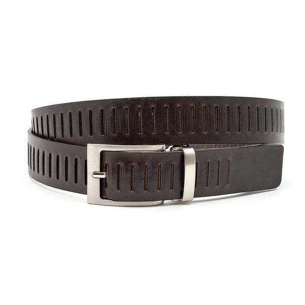 JV Belts Fraaie unisex riem bruin met sleufjes