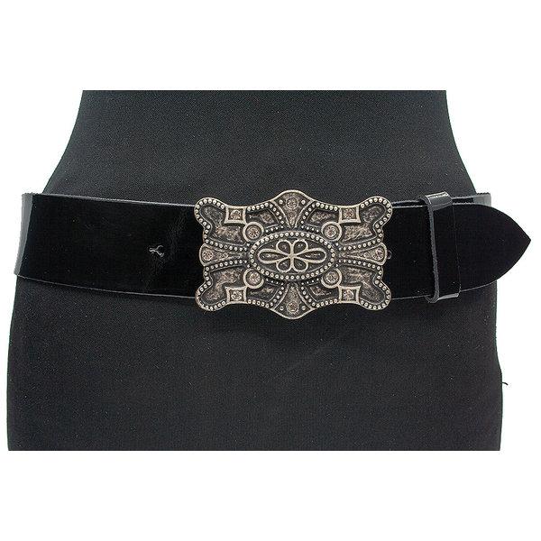 JV Belts Dames riem zwart lak leder