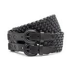 Thimbly Belts Zwarte gevlochten damesceintuur