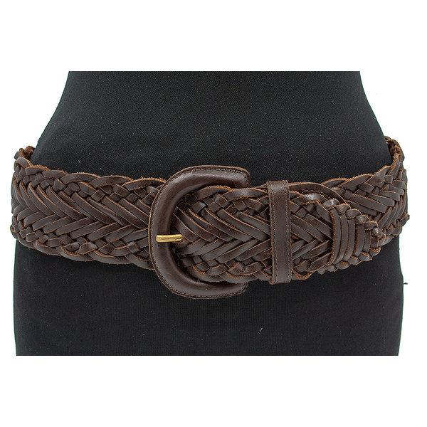 Thimbly Belts Dames vlechtceintuur bruin