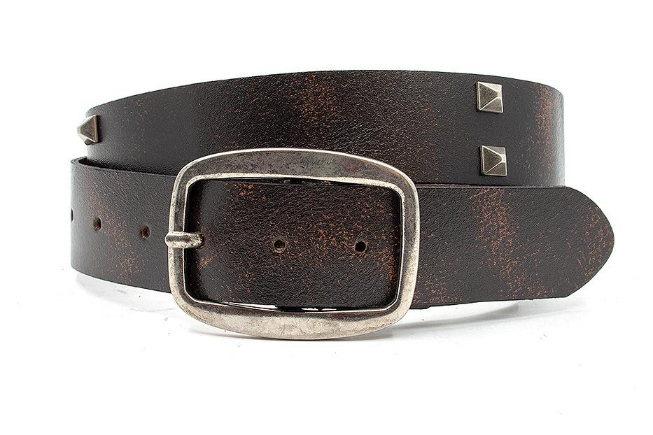 Thimbly Belts Stoere jeans riem bruin met studs