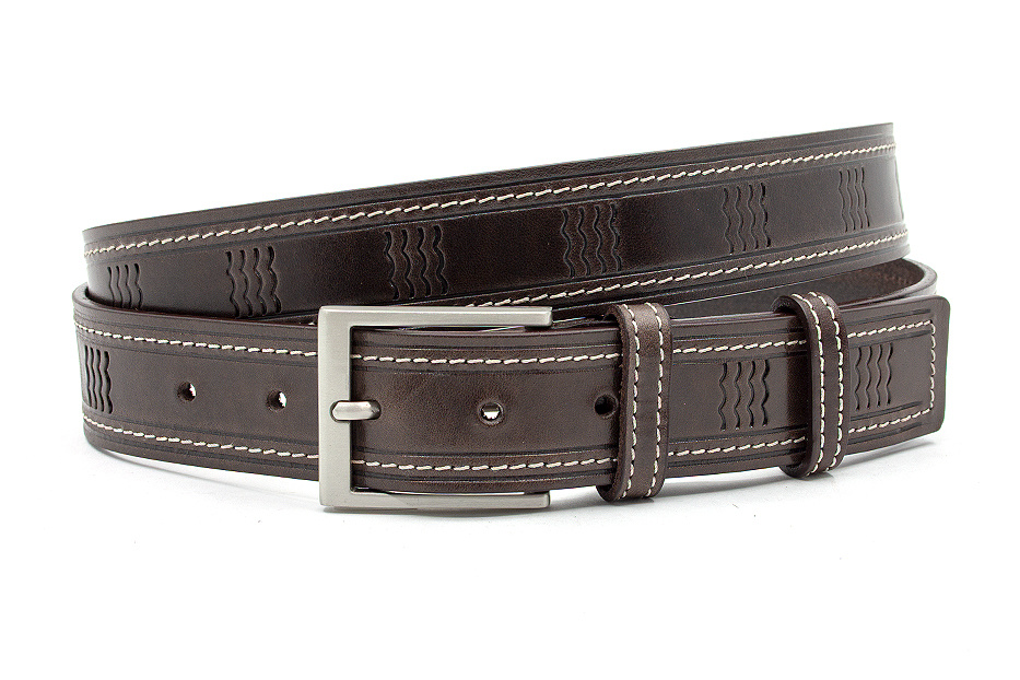 JV Belts Unisex riem bruin met golfpatroon