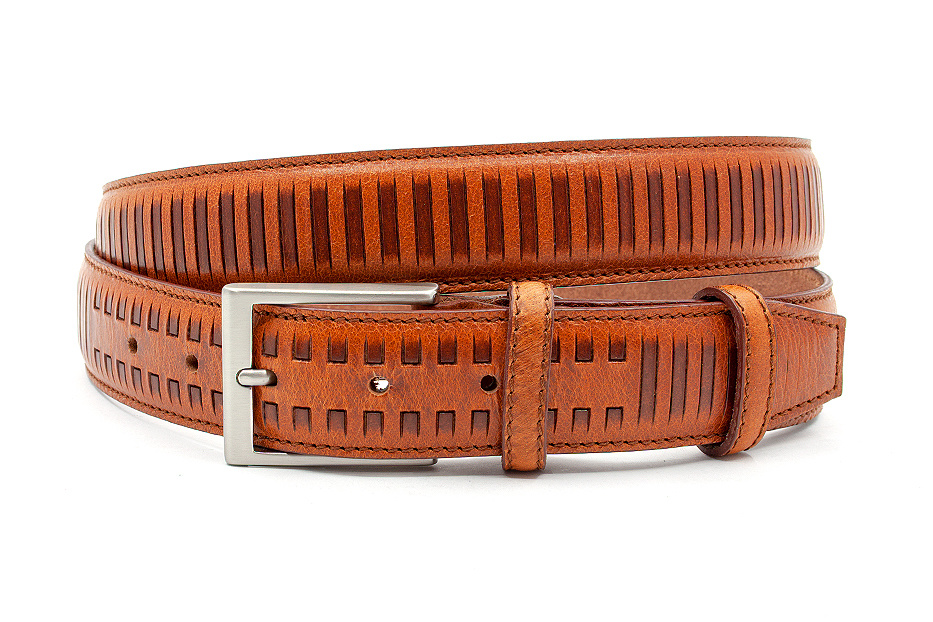 JV Belts Fraaie unisex riem cognac met streep patroon