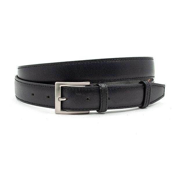 JV Belts Nette zwarte gebolleerde pantalonriem doorgestikt