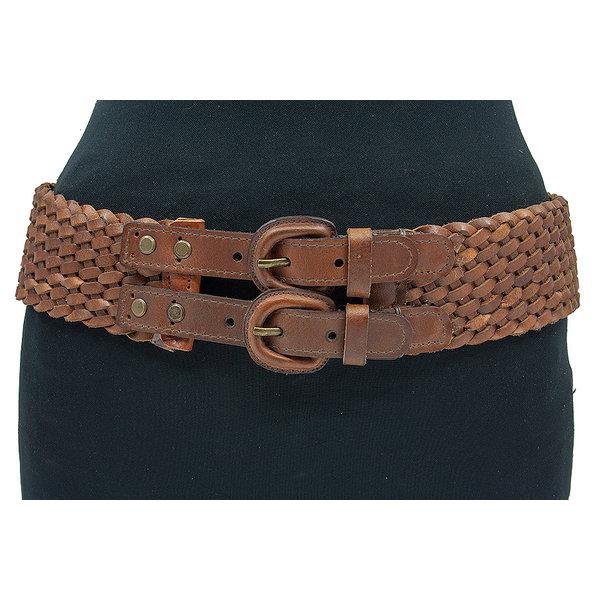 Thimbly Belts Cognac kleurige gevlochten damesceintuur
