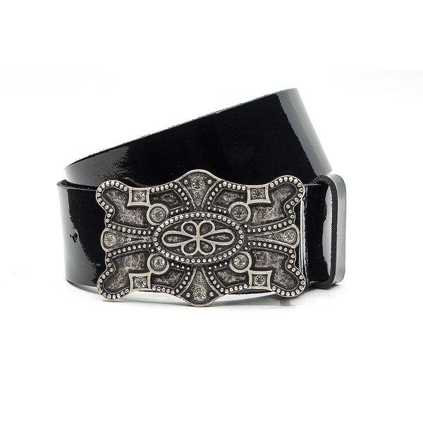 JV Belts Zwarte lak dames riem 5cm leder
