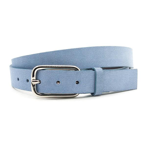 JV Belts Licht blauwe suède dames ceintuur
