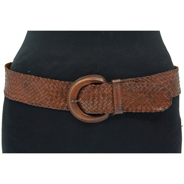 Thimbly Belts Dames vlechtriem cognac