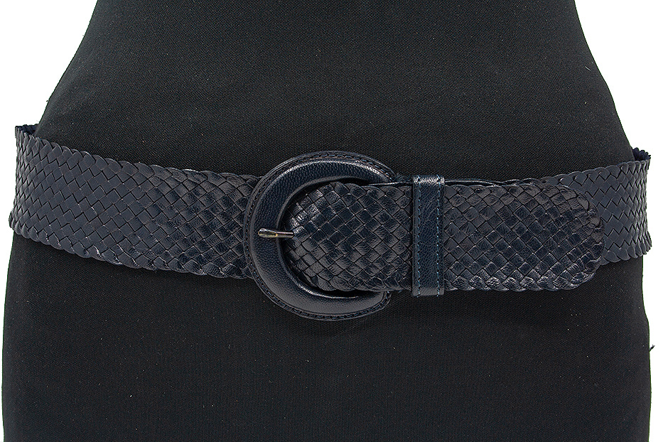 Thimbly Belts Dames vlechtriem donker blauw
