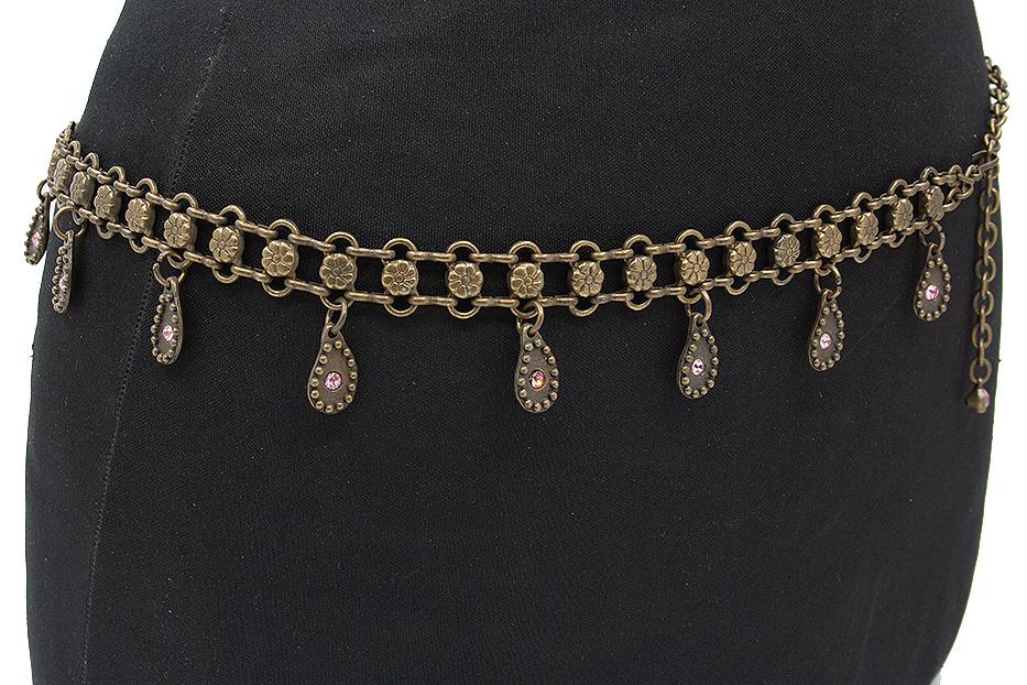 Thimbly Belts Kettingceintuur brons met roze strass stenen