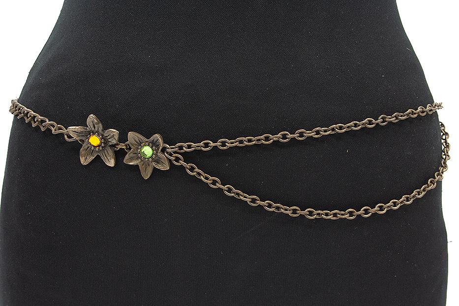 Thimbly Belts Kettingceintuur brons met strass bloemen